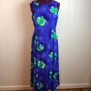 Vintage 80s/90s Green Blue Summer Sun Dress